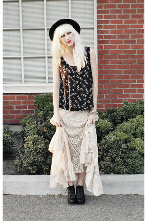black Jeffrey Campbell shoes - black vintage hat - off white lace maxi free peop