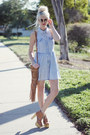Light-blue-pacsun-dress-brown-linea-pelle-bag-brown-jeffrey-campbell-heels