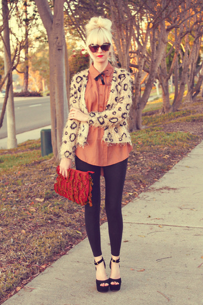 tawny Home blouse - tan causeway mall sweater - black H&M leggings