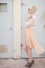 Peach-urban-outfitters-skirt-camel-causeway-mall-sweater-ivory-h-m-shirt