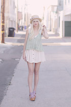 ivory Home made dress - aquamarine free people top - light purple ecote heels