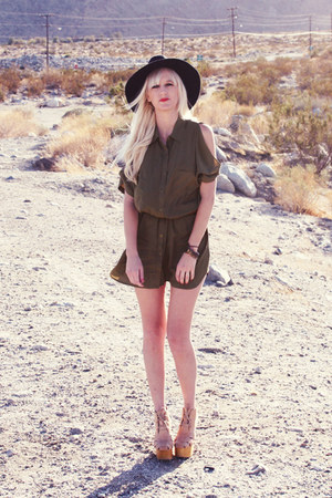 army green Forever21 dress - tan Jeffrey Campbell heels