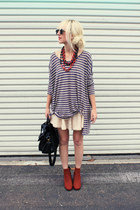 brick red ROWAN necklace - brick red vintage boots - eggshell H&M dress