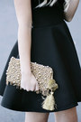 Black-keepsake-dress-gold-anthropologie-purse-gold-diy-crown-hair-accessory