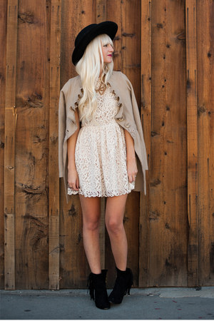 Anthropologie coat - sam edelman boots - lace H&M dress - Nasty Gal hat