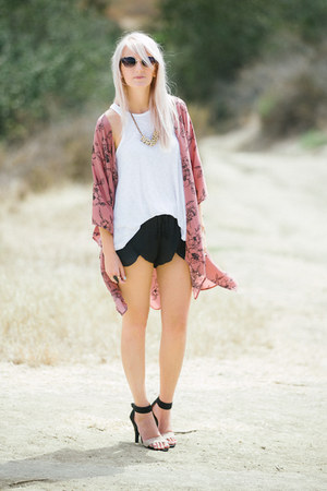gold 31 Bits necklace - white free people top - black Jeffrey Campbell sandals