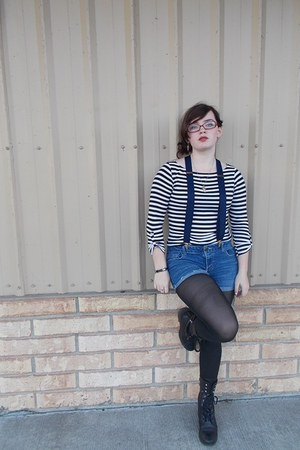 thrifted top - sam edelman boots - DIY shorts - dads accessories