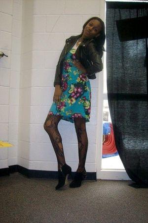black H&M jacket - black Bamboo shoes - blue H&M dress - black Dillards tights