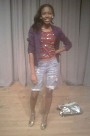 blue blazer - red shirt - blue shorts - silver payless shoes - white speigel pur