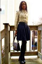 f21 shoes - thrifted shirt - vintage bag - Ulla Surland skirt - vintage belt