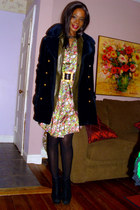 floral silk vintage dress - vintage coat - leather Burberry shirt