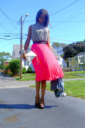 pleated flowy H&amp;M skirt - Jcrew jacket - New York Co shirt