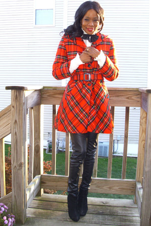 wool hooded vintage coat - wedge booties Charlotte Russe boots
