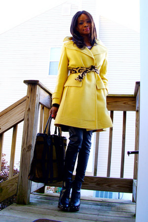yellow wool vintage coat - wedges Bakers boots - tan-black tote thrifted bag