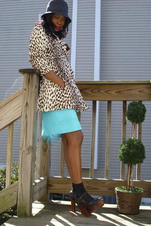 leopard print vintage coat - BCBG skirt - vintage sandals