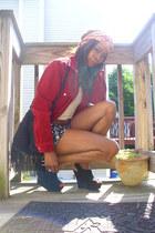 Tommy Hilfiger blazer - crochet fringe vintage bag - ann taylor shorts