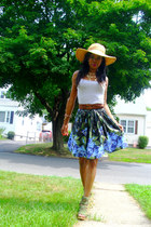 navy floral cotton Ann Taylor Loft skirt - army green Jeffrey Campbell sandals