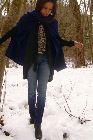 blue vintage cape jacket - black f21 cardigan - Hudson jeans - Target shoes - Ta