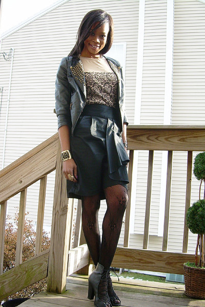 f21 jacket - Rodarte for Target t-shirt - f21 skirt - DKNY stockings - f21 shoes