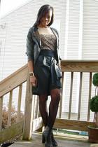 f21 jacket - Rodarte for Target t-shirt - f21 skirt - DKNY stockings - f21 shoes