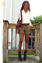 vintage bag - restricted shoes - lace panels vintage shirt - f21 shorts