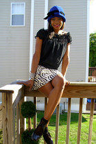 vintage hat - Nine West shoes - Lucky Brand shirt - ethnic print vintage skirt