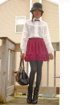 Strawberrys hat - vintage shirt - f21 skirt - Jeffrey Campbell shoes - vintage p
