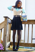 Tahari shirt - H&M cardigan - No namethrifted skirt - BCBG shoes - VintageEdith