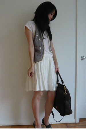 vest - Miu Miu purse - Paul Smith shoes - vince t-shirt