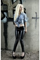 black leather Vero Moda pants - sky blue stone washed Coal N Terry Vintage shirt