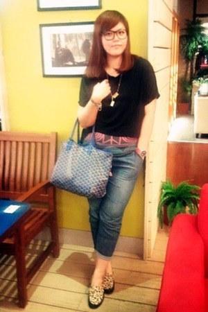 goyard bag - violet Esprit jeans - black CRES E DIM top - Macanna loafers