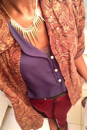 mustard spiky necklace Sheinside necklace - ruby red jeans