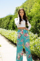 crop top Forever 21 shirt - palazzo floral Forever 21 pants