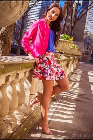 floral Forever 21 skirt - hot pink draped Q blazer