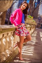 floral Forever 21 skirt - hot pink draped Q blazer