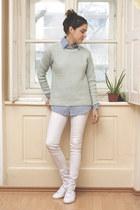 flea market jeans - New Yorker sweater - zaful shirt - Lacoste sneakers