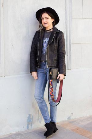 H&M jeans - New Yorker boots - sammydress hat - sammydress bag - H&M necklace