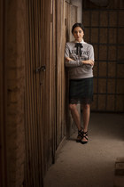 OASAP shirt - blackfive skirt - New Yorker sweatshirt - BCBGeneration heels