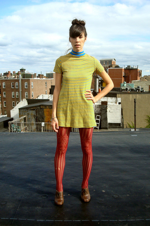 brown oxfords shoes - yellow stripes dress - red fishnets stockings