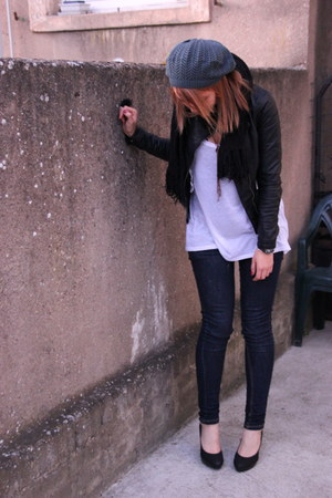 leather jacket Zara jacket - Bershka jeans