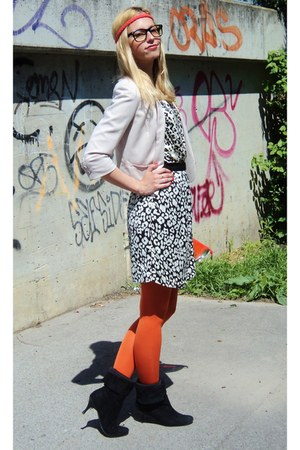 orange H&amp;M tights - black vintage boots - ivory Mango dress - beige H&amp;M blazer
