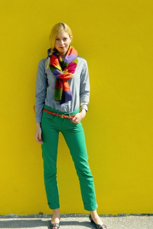 orange vintage scarf - black Jessica Simpson shoes - green Zara jeans