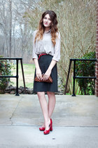 DSW shoes - banana republic skirt - Forever21 blouse