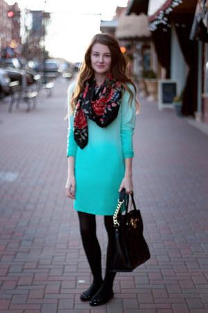 obre f21 dress - floral H&M scarf - Michael Kors purse - polka dot Gap flats