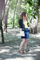 denim f21 skirt - f21 blazer - neon ae shirt - Old Navy sandals