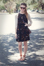 Dress-rose-gold-fossil-watch-old-navy-sandals-h-m-cardigan