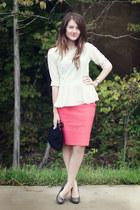 peplum f21 blouse - Fossil watch - windsor skirt - heels