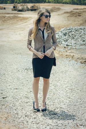 Charlotte Russe blazer - windsor blouse - Steve Madden heels - Fossil watch