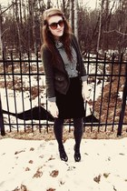 black sparkly kohls tights - H&M blouse - army green ae cardigan - black f21 ski