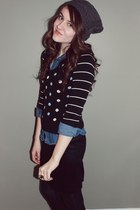 gray f21 hat - black thrifted sweater - denim Miley Cyrus blouse - black Target